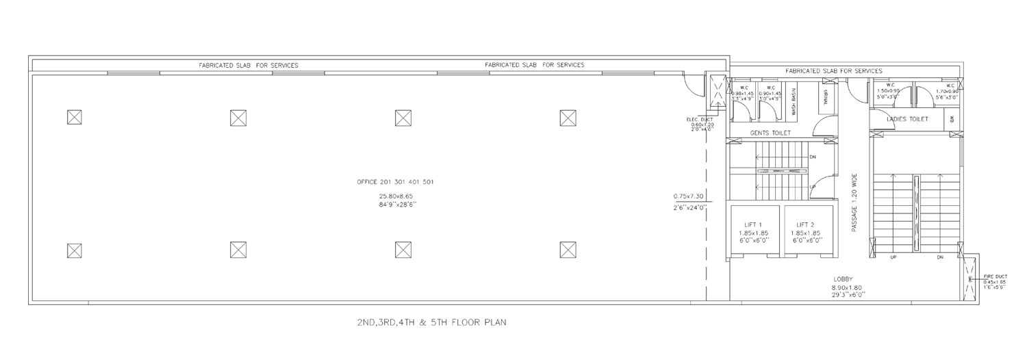 2nd, 3rd , 4th and 5th Floor Plan