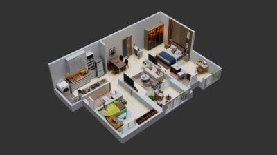 2BHK-Isometric-View